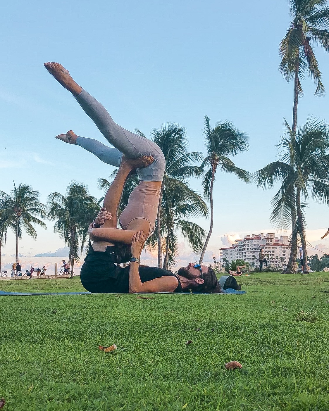 First Acro Yoga session in South Pointe Park, Miami Beach - October 2019